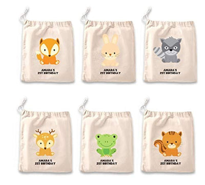 IFB-Woodland Favor Bags Forest animal Kids Birthday Personalized Bag, Custom Goodie Bag Set of 6, Party favours for kids.