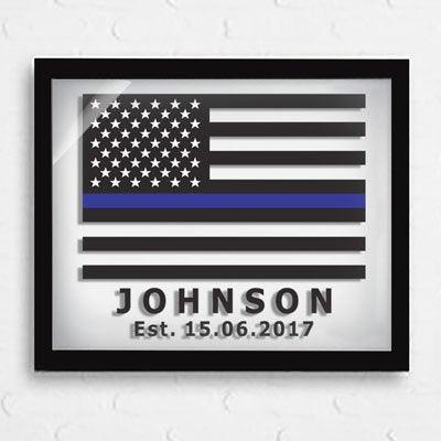 Police Officer Gifts -Thin Blue Line Flag - Retirement Gifts - Policeman Gifts - Wedding Gifts - Personalized Gifts - Police Si - BOSTON CREATIVE COMPANY