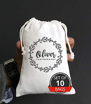 Personalized Favor Bags - Personalize Logo Name Brand Print Drawstring Bags Custom Small fine Cotton Canvas Bag Gift Drawstring Pouches Jewelry Packaging Bags