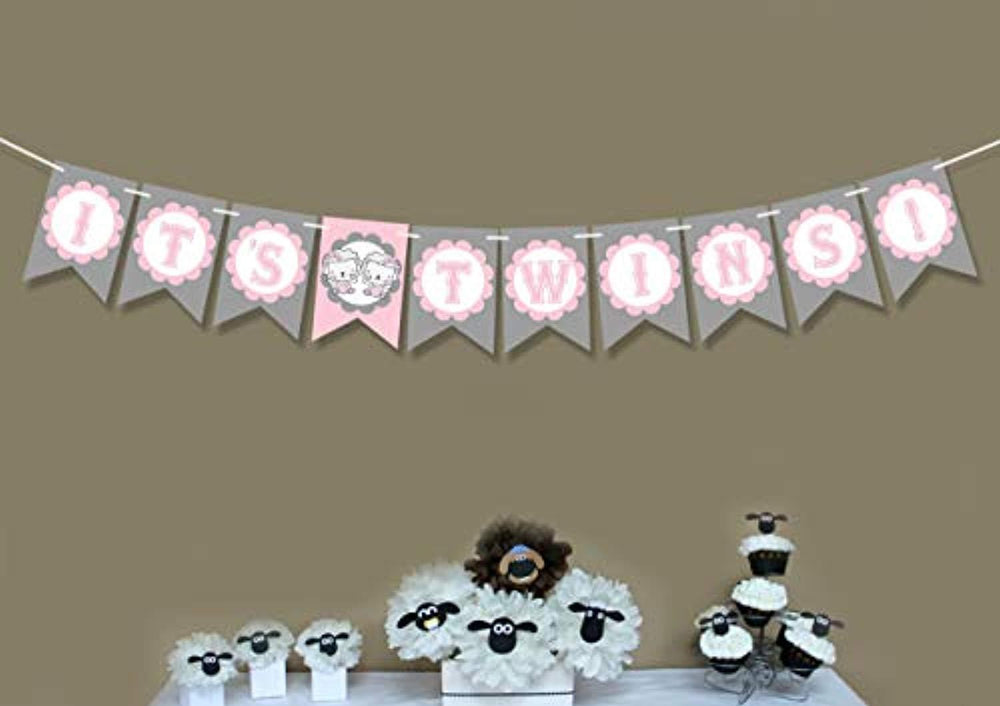 Its Twins Banner Welcome Sign Baby Shower Decorations For Girl-1st Birthday Party Favors -Highchair Banners And Signs- Twice Blessed Banner-Gender Reveal Party For Baby Or Girl-pink And Grey Decor