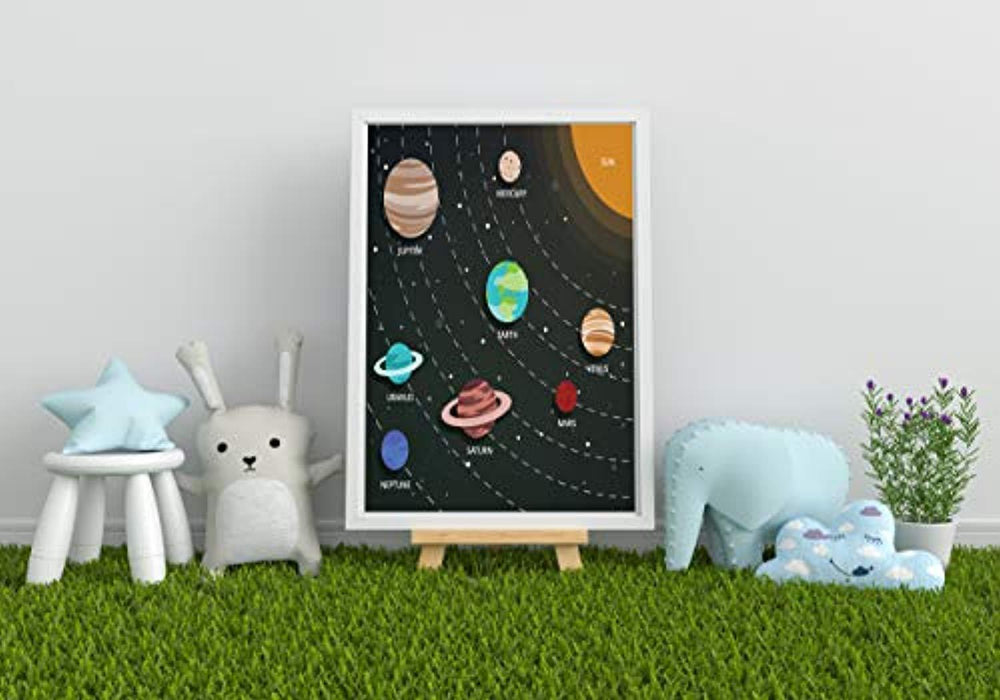 BOSTON CREATIVE COMPANY Amazing Gifts for Children | Solar System Poster | Kids Educational Planets Space Poster Charts | Perfect for Kids and Toddlers