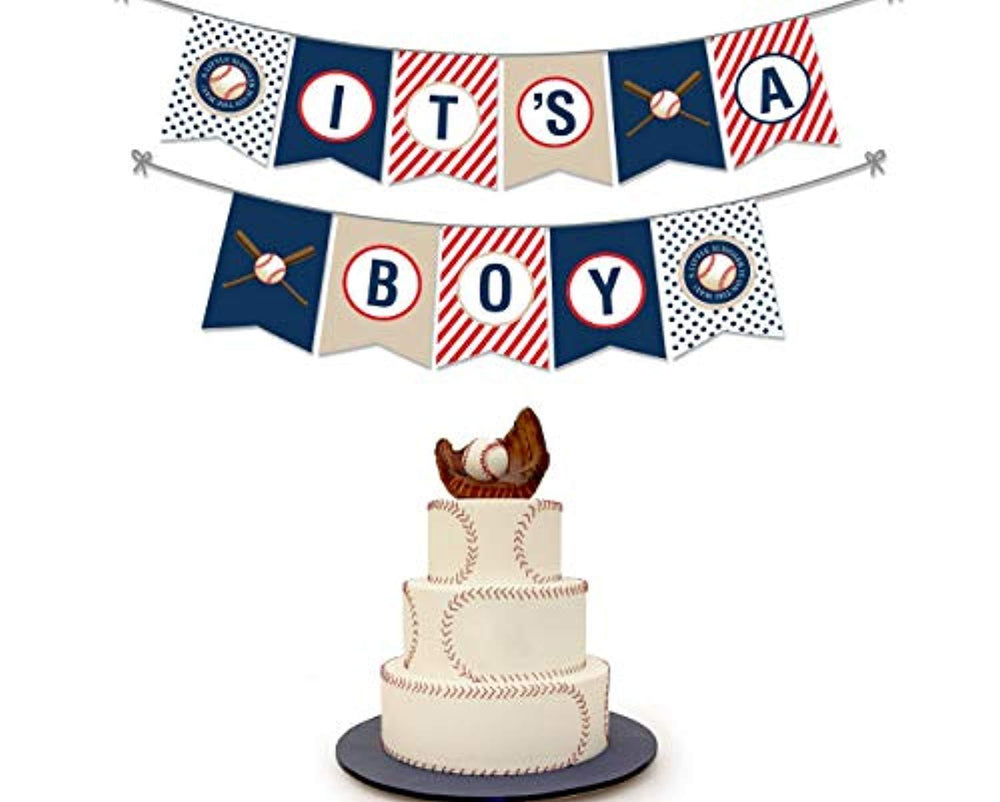 Party Tarty -Baseball Themed Party Favors Baby Shower Sports Themed Pennant Decoration-its A Boy Banner Highchair Decorations For 1st Birthday Boy Decoration- Sport Decorations For Gender Reveal Party