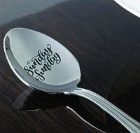 Sunday gift | School gift from teacher | Gift from dad/mom | Sunday fun day engraved spoon gift for boy/girl | Motivational gift | Father son weekend gift | Funny Employees/Coworker gift