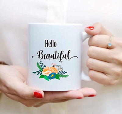 Ideas from Boston- Hello beautiful mug, Beautiful coffee mug, Gift For friends sister brother, FunnyQuotes, Mugs for couple, Ceramic coffee mugs, Girl cups