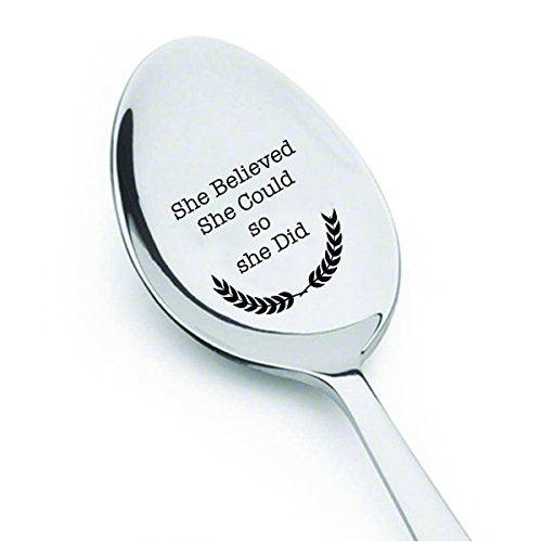 She believed she could so she did - engraved spoon - coffer lover - gift for her - Inspirational quote - Great Gift - BOSTON CREATIVE COMPANY