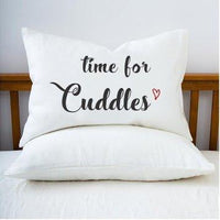 Bedroom Decor - Time for cuddles pillowcase - Couple Gifts - White Pillow Cover - Decorative Pillow Covers - Single pillowcase - BOSTON CREATIVE COMPANY