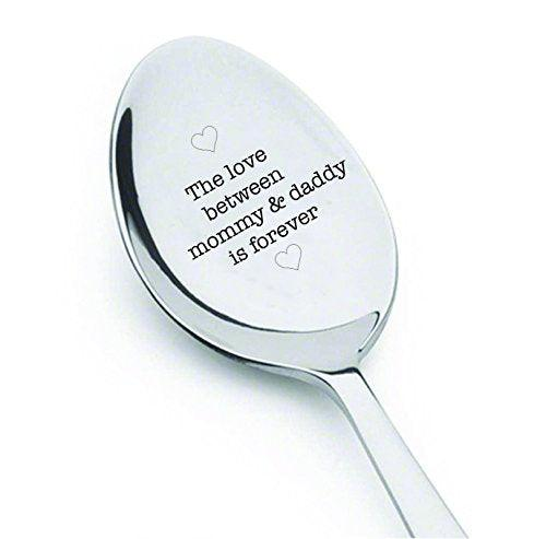 The love between mommy and daddy is forever - cute spoon - engraved spoon - coffer lover - gift for mom - Were Having a Baby - engraved Spoon for Pregnancy Announcement - dad gifts#SP_001