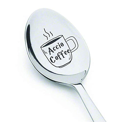 Accio Coffee Spoon | Christmas gift for friend/boyfriend | Stocking stuffer for teens | Engraved spoon gift for men women | Sister birthday engraved gift | Easter basket gift ideas
