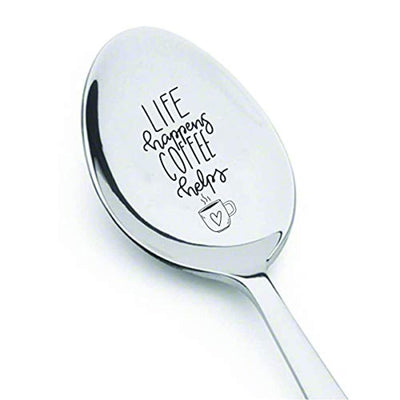 Gift for the coffee lover | Inspirational gift for women |Papa gift from grand children | Christmas gift for dad/mom/grandparent | Life happens, coffee helps engraved spoon gift for men/women