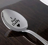 Engraved Dad Spoon Gifts-Stainless Steel Coffee/Teaspoon for Dad from Daughter Son