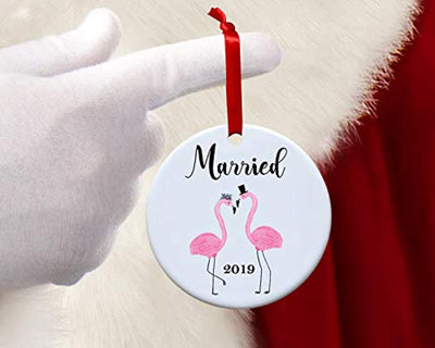 Flamingo Ornaments for Christmas Tree-Newlywed First Christmas Ornament Wedding Decoration-Round Personalized Christmas Mr and Mrs 2019- Holiday Hanging Xmas Tree Decor