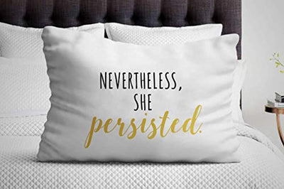 Nevertheless, She Persisted Pillow Cover | Feminist Decor Gift | Inspirational Gifts for Women