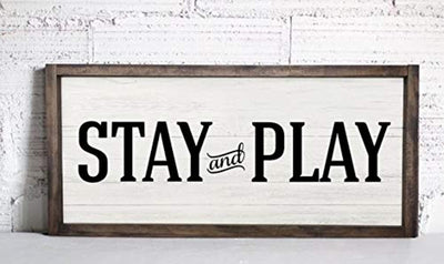 Nursery Room Wood Sign - Home Decor Farmhouse Wall Decor - Stay And Play Sign Rustic Wood Farmhouse Style Wooden Wall Art - Wall Hanging - Home Decor Room Plaque Sign