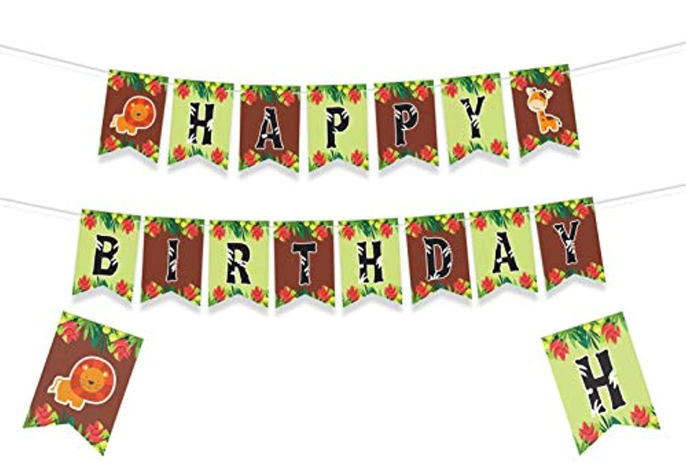 JUNGLE THEMED HAPPY BIRTHDAY BANNER - Baby Animals Decorations - Animal Birthday Party Decorations - Jungle Safari Party Supplies - Animal Baby Shower Decorations - Forest Animals Birthday Party Decor - Forest Theme Birthday Banner - 8*5.5 Inches