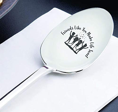 Friendship long distance gift |Christmas gifts for friends ideas | Best friend friendship birthday gifts ideas for boy/girl| BFF Engraved Spoon gift| Friends like you make life sweet| Friends forever