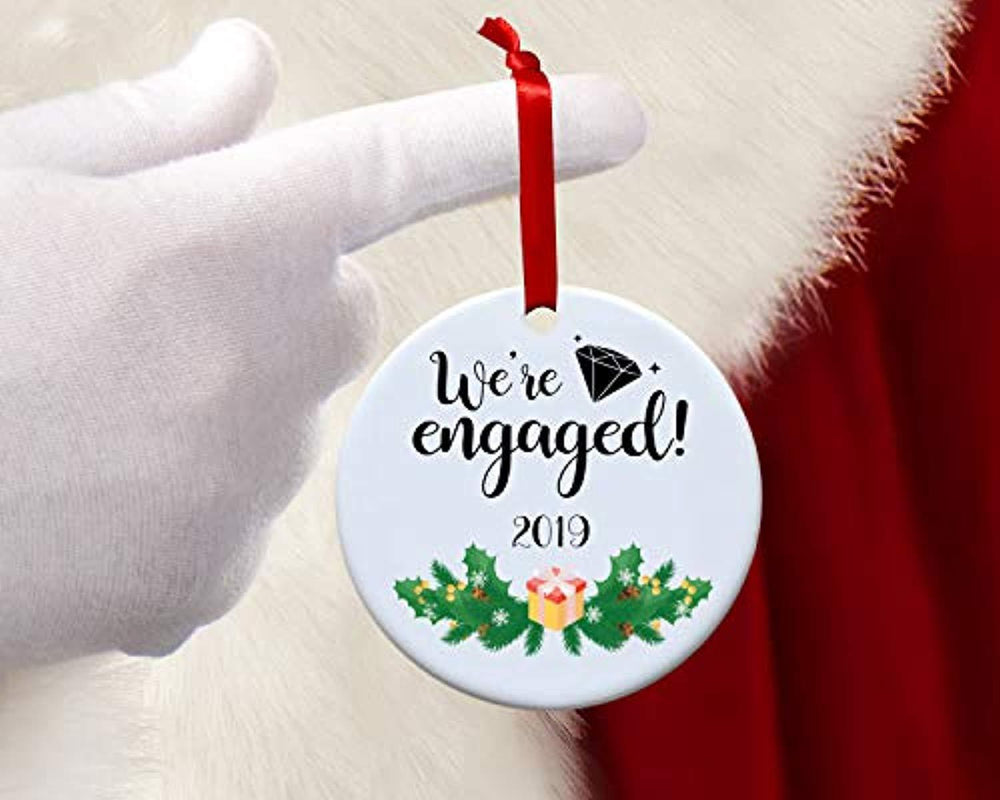 We are engaged ornament 2019 -Our First Engagement Christmas ornaments gift for couples-Bride to be Fiance 1st Christmas tree decor gift-Just engaged circle keepsake Xmas decoration
