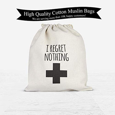 I Regret Nothing Hangover Kit Bachelorette Party Favor Hang over Gift Bags Wedding Cotton Muslin Welcome Favors Recovery Kit Bags