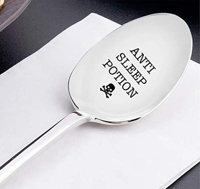 Anti Sleep Potion Engraved Stainless Steel Spoon- Best Present - Best selling Gifts - Small Cute Gifts For Sleepy Friends