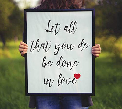 Let All That You Do Be Done in Love Poster | Goddaughter Gifts from Godmother | Bible Quote Wall Art