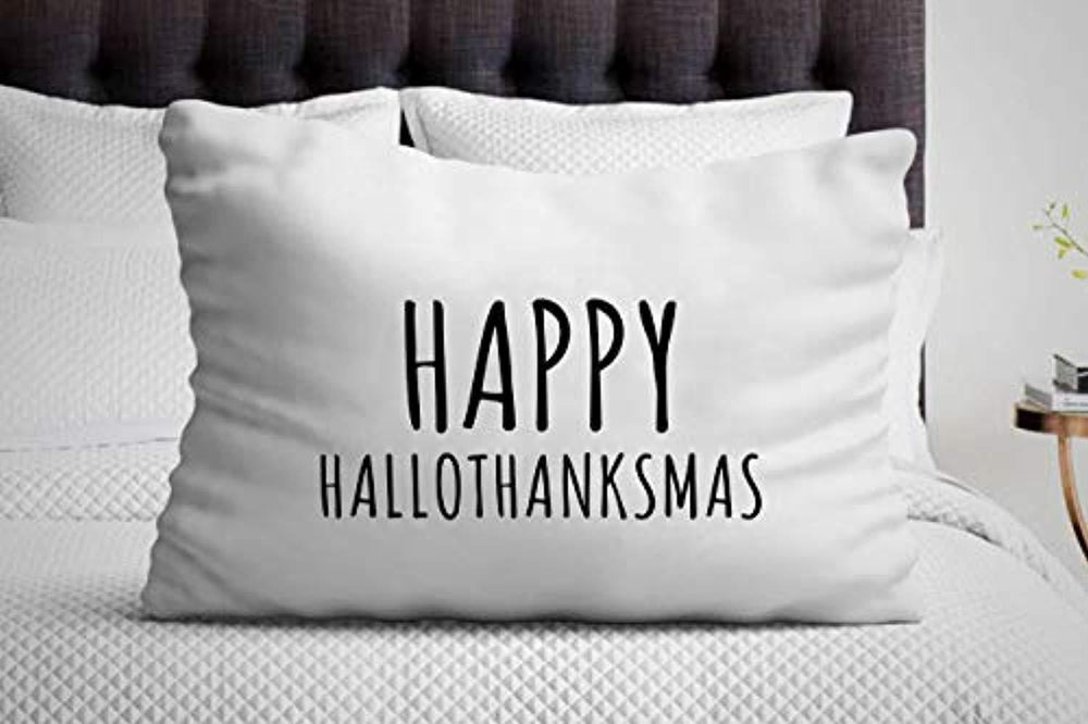 Happy Hallothanksmas Pillow Cover| Christmas Celebration | Presents for Special Occasions