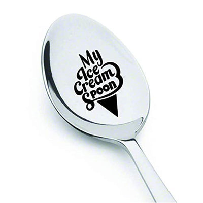 Dad icecream spoon christmas gift | Ice cream lover gift for sister grandpa | Best friend Personalized birthday gift ideas | Engraved my ice cream spoon for men women