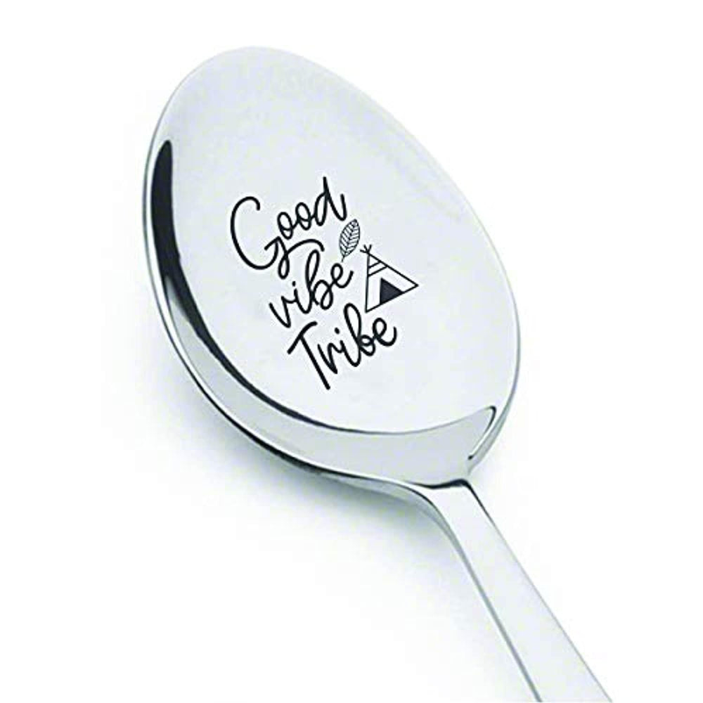 Inspirational gift for women | Positive affirmation quotes | Christmas gift for son/daughter | Teenager gift Good vibe tribe engraved spoon gift for men | Gift from mentor | Student gift boy girl