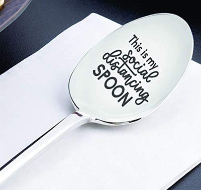 Quarantine gifts -Quarantine gag gift for men women |Social distance Best gift for family friends lover|Thinking of you Spoon gift| Funny adult gift|Stay home gift -This Is My Social Distancing Spoon