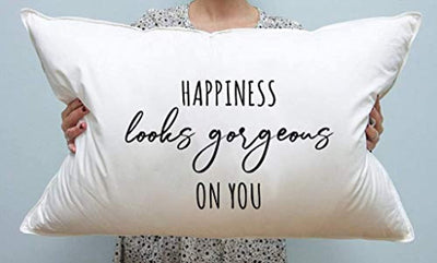 SS SPECIALTY STYLES Happiness Look Gorgeous On You Pillow Cover-Lovable Gift for Women-Unique for Girlfriend-Bridal Presentation-Best Remembrance for Girlfriend's Birthday-Decorative Pillow Case.