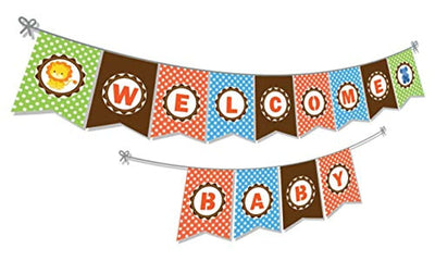 Welcome Baby Banner Jungle Safari Themed Backdrop Boy Girl Kids Wild One Happy 1st First Birthday Party Banner Newborn Baby Shower Neutral Party Supplies Animal decorating kit -Gender reveal party decoration kit