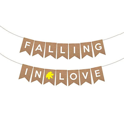 Fall in Love Banner with Maple leaf - Rustic Wedding Engagement Bridal Shower Decoration - Autumn Party Decoration - Fall Garland decor