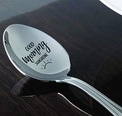 Inspiring gift | Good morning sunshine spoon gift for men/women |Christmas gift for mom/dad | Engraved Spoon gifts for friend/Co worker/boy friend |Thanksgiving gift | Easter gift | BFF gift |
