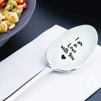 Valentines day gift - Romantic love gift for men women - I Am In Love With You Spoon gifts for Couple Valentine gift for Him Wedding Anniversary Gift Special Engraved Spoon Gift