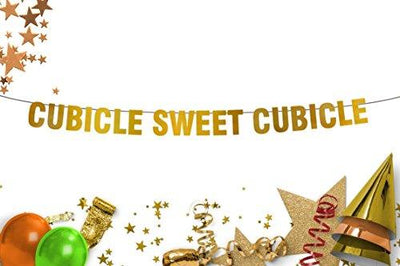 Cubicle Sweet Cubicle Wall hanging Workplace Decor Wall decor Office decor Gold banner