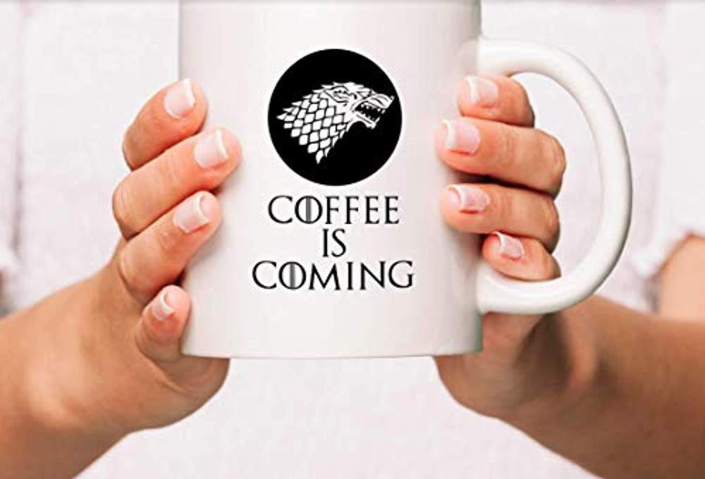 Coffee Is Coming Coffee Mugs | GOT Gifts 2019 | Coffee Lovers Gifts | Game of Thrones Gifts | Engraved Ceramic Coffee Gift Mugs
