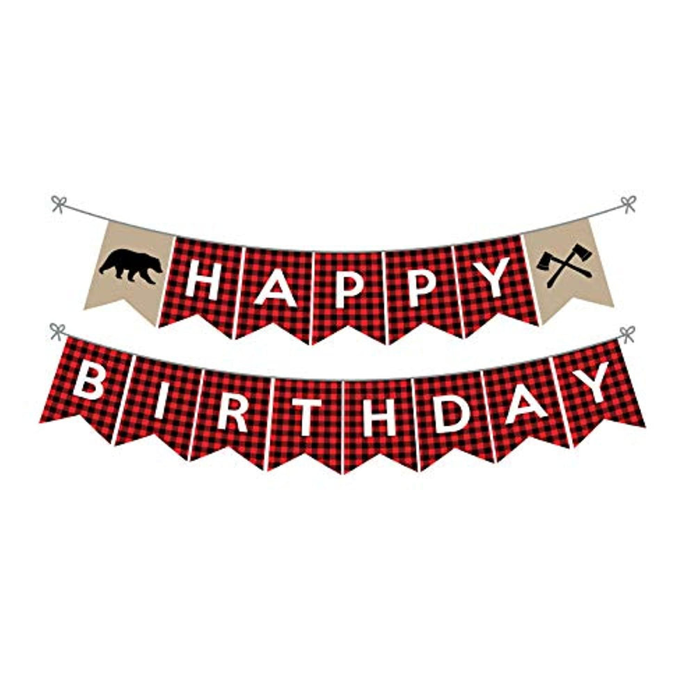 Lumberjack happy birthday banner|Lumberjack birthday party decorations buffalo plaid theme party supplies|Lumberjack Birthday Banner for Kids/Boys/Camping theme/Baby Shower/Birthday Party Decoration
