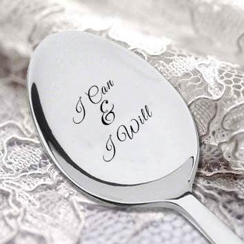 I Can And I will Engraved Spoon -Inspirational Theme- Motivational Quote - Message Saying Spoon-Personalized Cutlery - BOSTON CREATIVE COMPANY