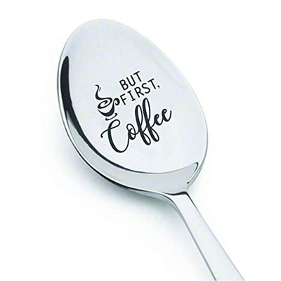 Gift for the coffee lover| Papa gift from grandchildren | Engraved spoon gift for dad/mom from daughter son | Gift for grandpa/grandma |Thanksgiving/Easter basket gift ideas | But first coffee