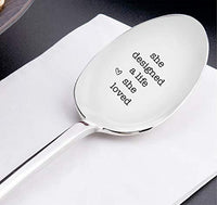 She Designed A Life She Loved Engraved Stainless Steel Spoon Token Of Love Cute Perfect Gift For Her BestFriend Loved Ones Wife Valentine On Birthday Anniversary Wedding And Special Occasions