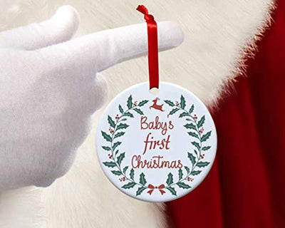 Babies First Christmas Ornament 2019-New Family Christmas Tree Decoration -Personalized Holiday Xmas Decor Ideas-Round 2.75 inch Boy and Girl Tree Hanging Decor