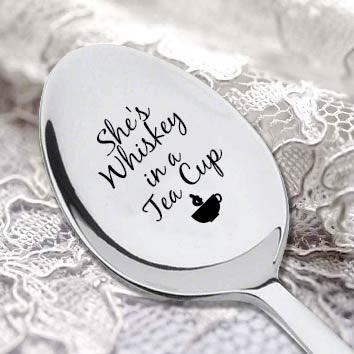 Quote Engraved Spoon-She's Whiskey In A Tea cup- Girl Friend Gift - Valentines Gift- Gift For Wife - BOSTON CREATIVE COMPANY