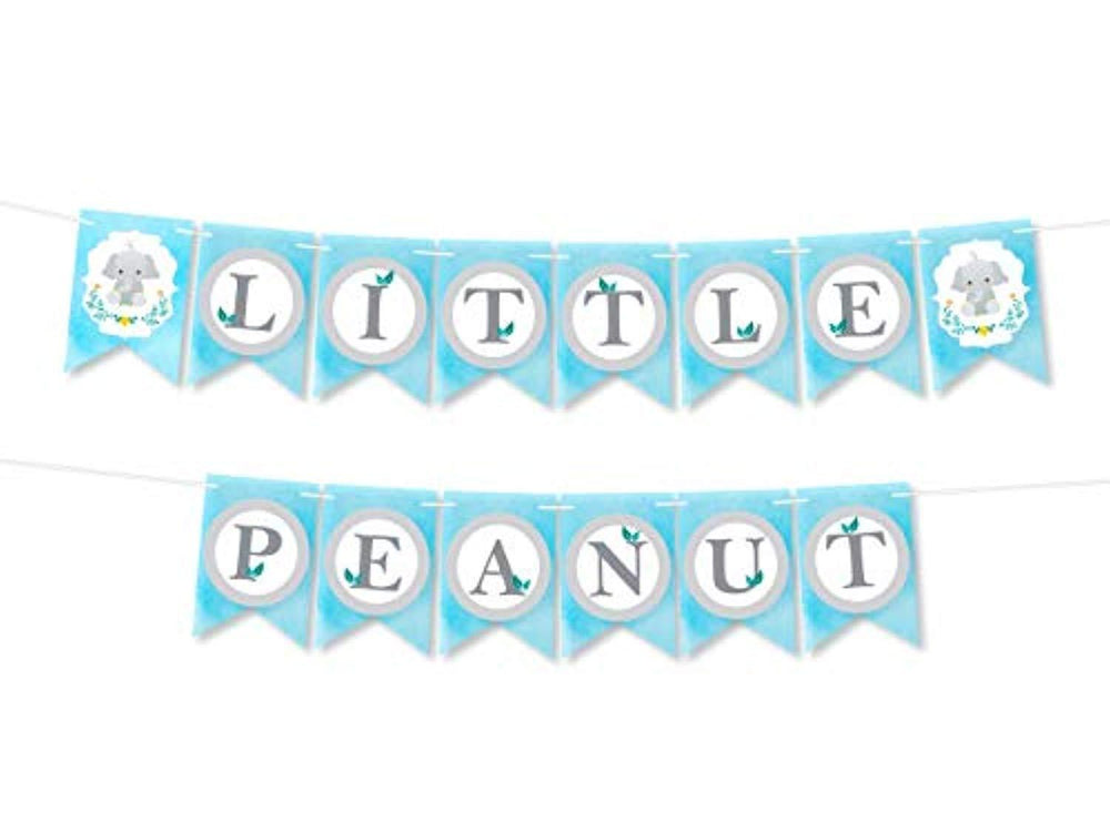 Little Peanut Baby Shower Boy Banner Decoration-Dumbo Party Supplies- Blue Party Home Decorations Party Kit-little Elephant Blue Baby Shower Banner Pennant Or Birthday Party Elephant Decor