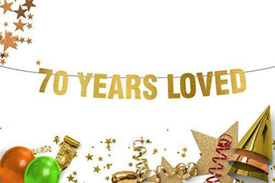 70 Years Loved Banner - 70th birthday party decorations - 70th anniversary - Gold banner - Party Banner - seventy years banner sign - photo prop - happy birthday banner - party decoration