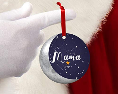 First Christmas as Mother New Mom Christmas Ornament -1st Christmas as New Mama Moon Gift- Babies First Christmas Ornament 2019 - Round 2.75 inch Xmas Tree Decoration Ideas
