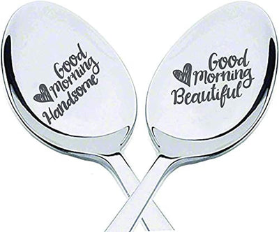 Good morning handsome beautiful Christmas gift | Newly wed gifts | Husband wife gift for/Wedding/Anniversary/Valentines day | Love gift for boyfriend/Girlfriend | Romantic Engraved Spoon gift