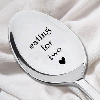 Eating For Two Spoon-Unique Pregnancy Reveal Idea- Pregnancy Gift- Baby Shower Gift-New Arrival Present - BOSTON CREATIVE COMPANY