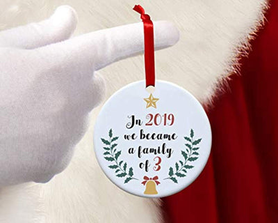 Babies first Christmas ornament 2019-My First Christmas as Mommy and daddy -Round new parent gift ideas for friends -New family Christmas tree decoration -Personalized holiday Xmas decor ideas