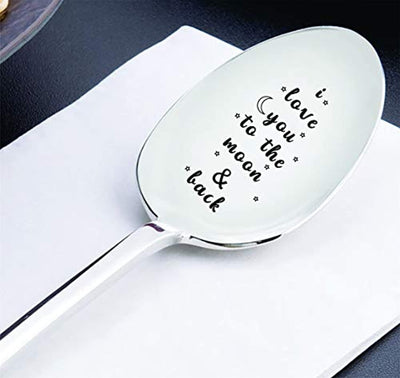 I Love You To The Moon And Back-Valentine Couple Spoon Gift for Him Her