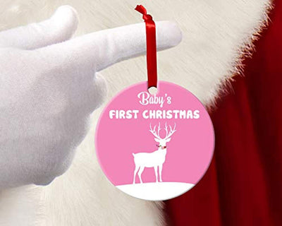 Babies First Christmas Ornament 2019-Pink Baby Girl Deer Birth Announcement -New Family Christmas Tree Decoration -Personalized Holiday Xmas Decor Ideas