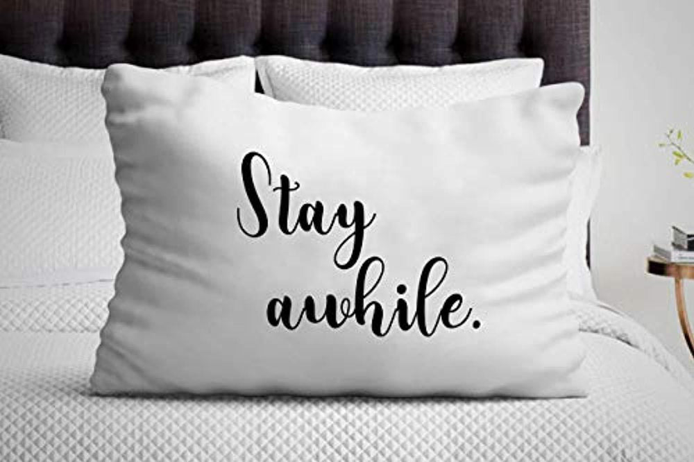 Stay Awhile Decorative Pillow Cover| gift for best Friends| Valentines Day gifts