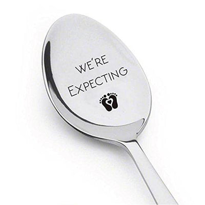 We're Expecting Spoon Pregnancy Announcement Engraved Unique Gift Ideas